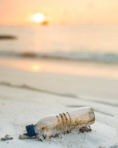 plastic bottle washed up on the beach